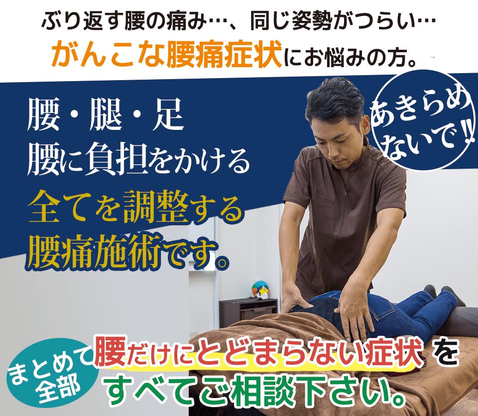 がんこな腰痛症状にお悩みの方 腰だけにとどまらない症状全てご相談ください。